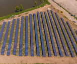Solar Blue Panels on Green Grass