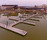 Empty boat docks along National Mississippi River Museum