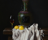Still life with Cloisonné vase, wineglass and lemons