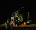 Still life with apples and jug with green algae