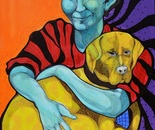 Blue girl with her yellow dog