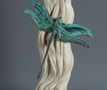 """""""Dragonfly by the stream"""", (from the """"India"""" cycle) bronze, marble, steel, 49x28x19"""