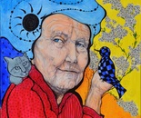 Éda Gyenis: Old lady with checked bird