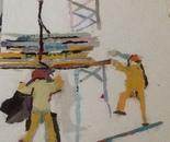 Yellow men reach planks