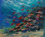 "UNDERWATER PAINTING  ""Abstract coral reef KALEIDOSCOPE."""