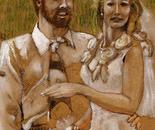 Wedding Day artist and bride.
