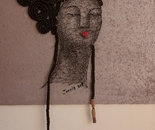 ONYINYE EZENNIA (ZENNIA), African Bride, Nails and thread (string) on board, 24 x 20 inches, 2020