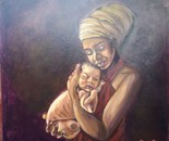 MABEL O. IGOCHE, Motherhood, Oil on canvas, 60 X 60 cm, 2021