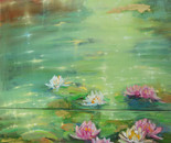 Water lilies 60x70cm_30x60cm. Oil painting (diptych)