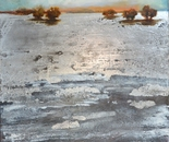Water World -70x100cm oil painting, art silver leaf