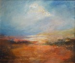 Landscape with a cloud- 50x60cm oil, gold leaf