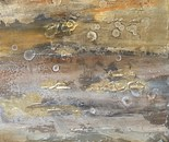 Jurassic landscape 30x60cm Oil painting, gold leaf