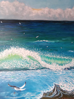 Big wave with Seagull