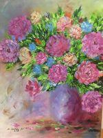 Bouquet in a purple vase