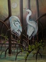 BLUE HERONS AT DUSK