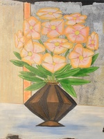 'Brown pot with yellow flower''