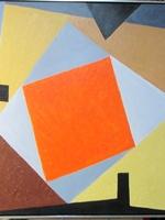 'Hard edge abstraction with orange''