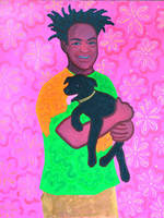 Black man and his dog's portrait