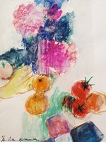 Still life fruit and flowers