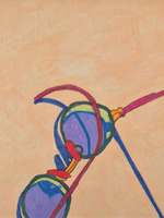 Glasses on Peach Watercolor