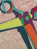 Scissors on Red