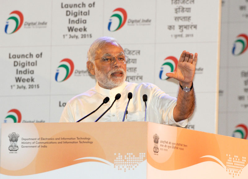 Indian Prime Minister, Narendra Modi addressing at the launching ceremony of Digital India Week, in New Delhi on July 01, 2015.