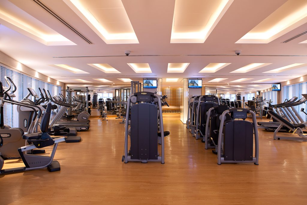 The well equipped gym at the Aparthotel