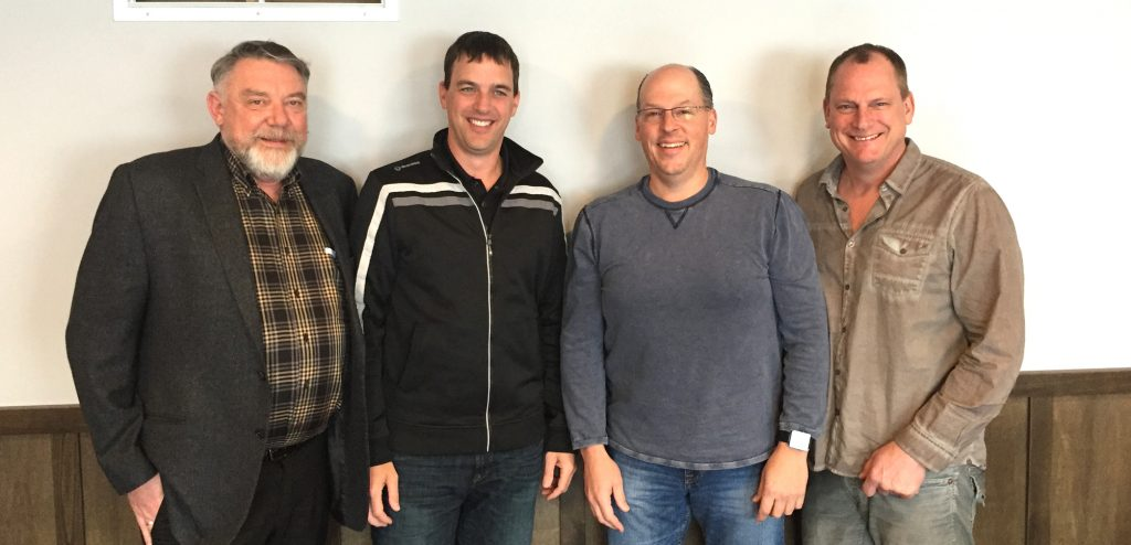 Canex Senior management: Bruce Kehlor, President, at left, Brian DeVisser, Contractor Sales, Bruce Van den Brink CPA, Finance and Operations Manager, and Brian Wierks, Contract Sales Manager. Photo: Submitted.