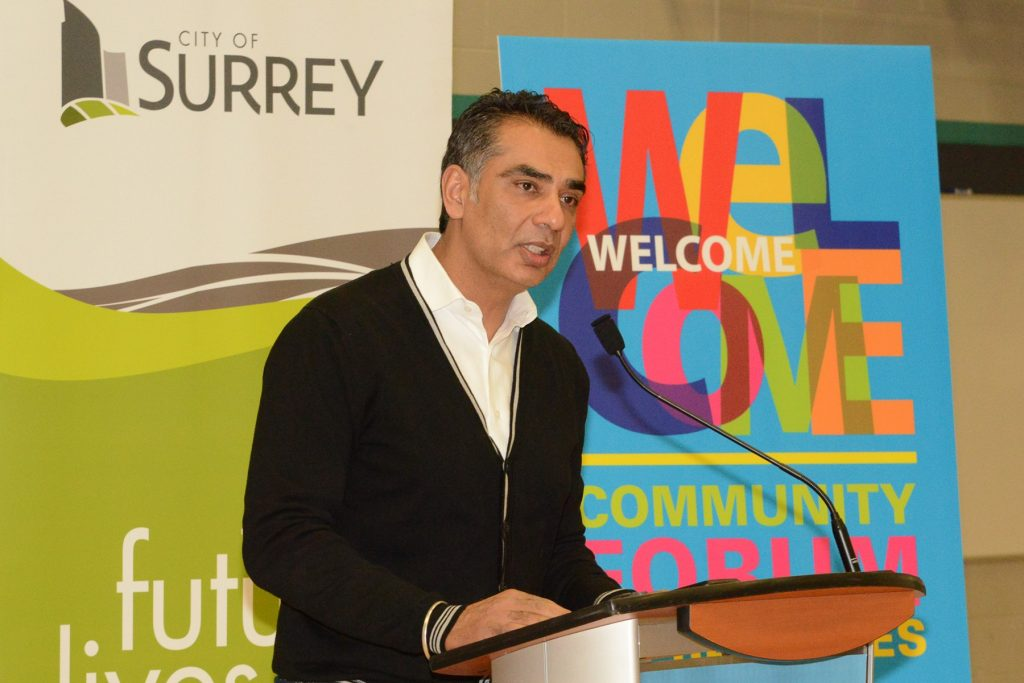 MLA Virk speaking to the Refugee Information Forum in Fleetwood. Photo: Ray Hudson