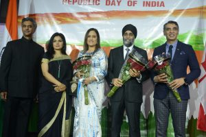 Rajiv K. Chander (Consul General of India – Vancouver), Dr. Shalini C. Chander, Jatinder Virk,                Hon. Harjit Sajjan (Defence Minister) and Amrik Virk (MLA of Surrey – Tynehead).