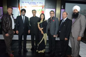 Kanwaljeet S. Randhawa (President - founder of SW Media Group), Hon. Harjit Sajjan (Defence Minister), Rajiv K. Chander (Consul General of India - Vancouver), Dr. Shalini C. Chander, Aditya Tawatia (President – Indo Canadian Socio Economic Association), Anil Suri and Randeep Sarai (MP Surrey Centre). Photos: Chandra Bodalia