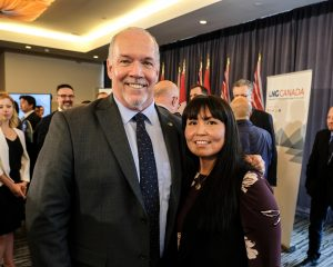 Premier John Horgan and Haisla First Nation Chief Councillor Crystal Smith at Tuesday's official announcement.  A $40-billion investment by LNG Canada shows BC's future can balance economic opportunity and job creation with forward-looking environmental action that meets the Province's climate action goals.