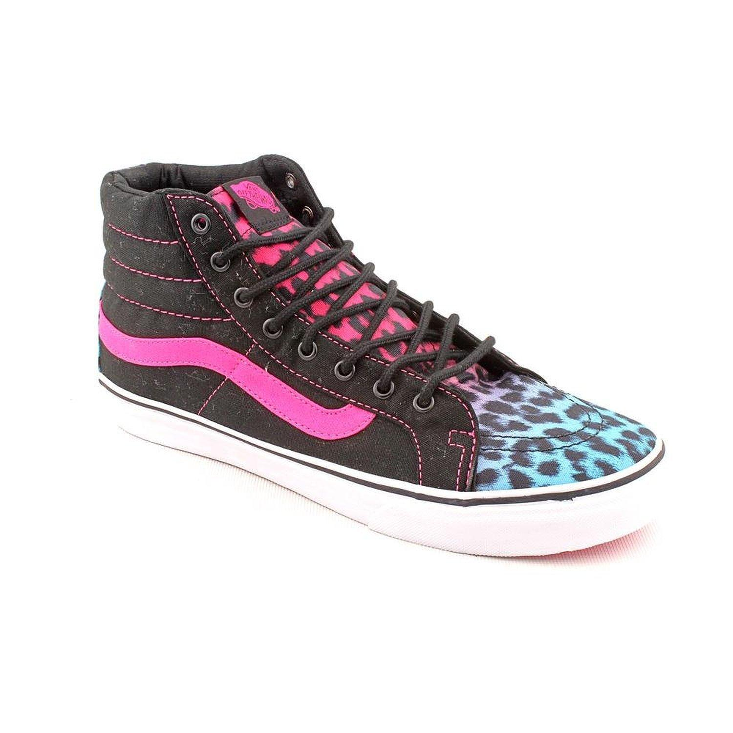 91c5fa9776 Details about Vans Womens Sk8-Hi Slim Leopard Magenta Blue Black  Skateboarding Shoes