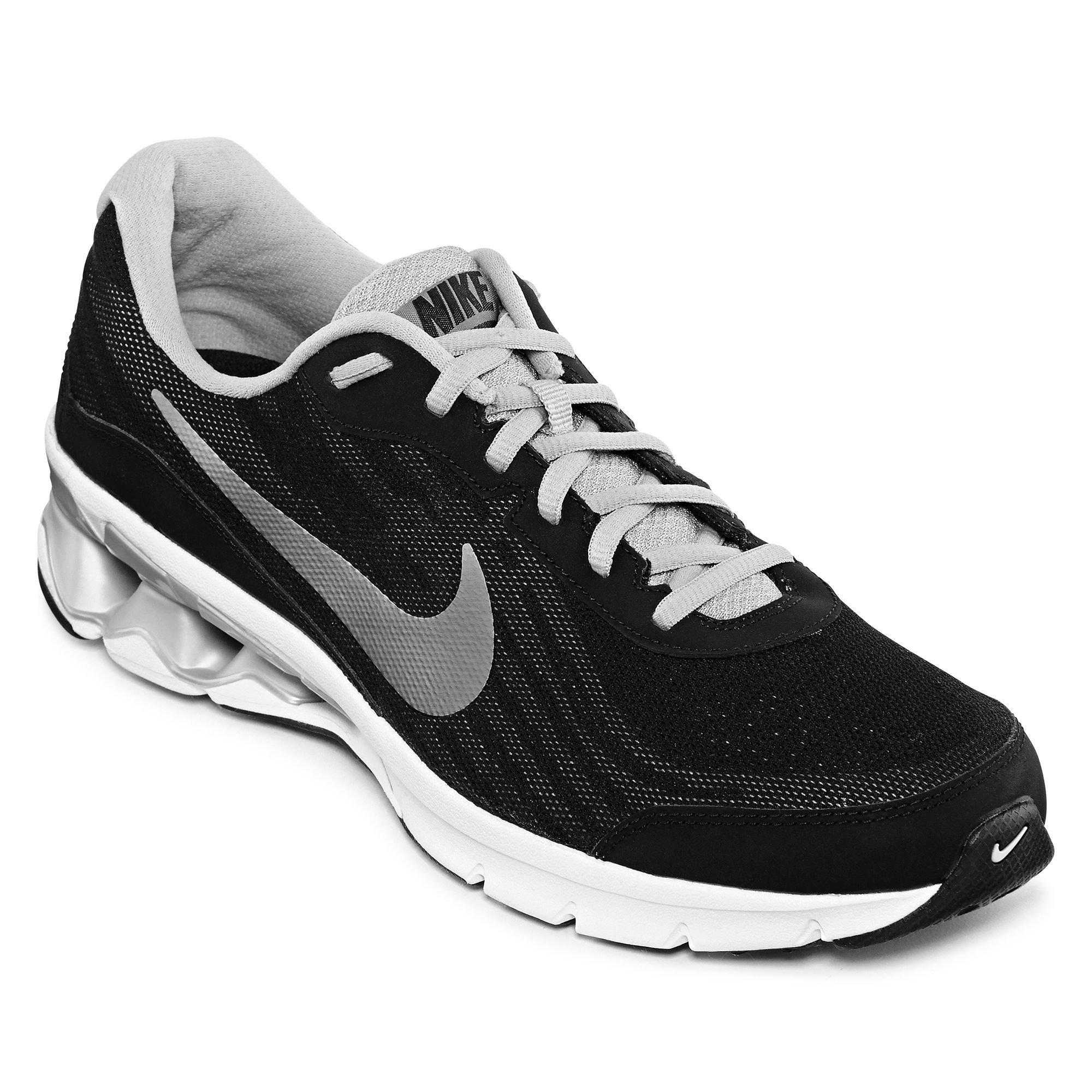 0cb35fe3be27 Details about Nike Men s Reax Run 9 Black Metallic Silver Dark Grey White  Running Shoe