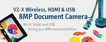 VZ-X Wireless, HDMI & USB 8MP Document Camera - Wi-Fi, HDMI and USB. Giving you different possibilities.