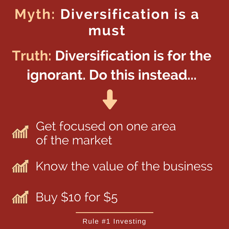 sign says diversification is a myth focus on one area of the market instead