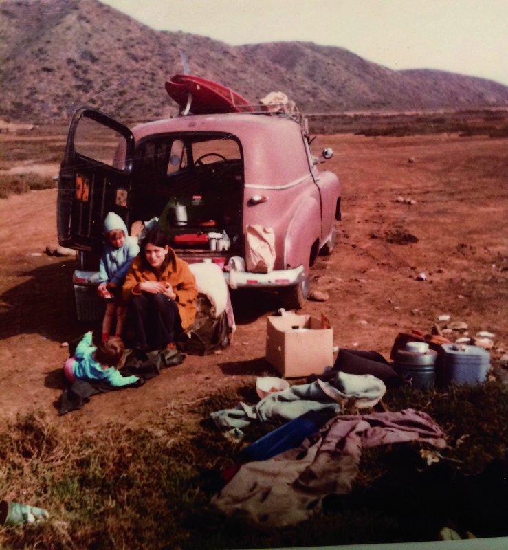 Kathy with her kids shawd and Sarah in Baja 1970