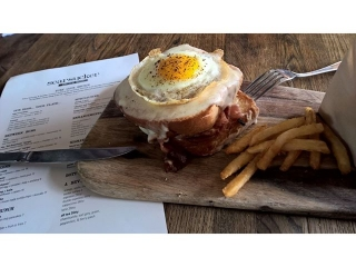 Try our #CroqueMadame with ham + gruyere + brioche + egg served every Saturday & Sunday until 2PM during B RU N CH at Searsucker Del Mar.