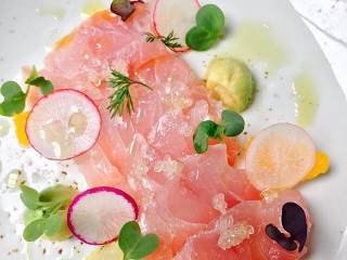 Chef @ColonJC showcases his newest raw dish, and quite possibly the prettiest crudo we ever did see
