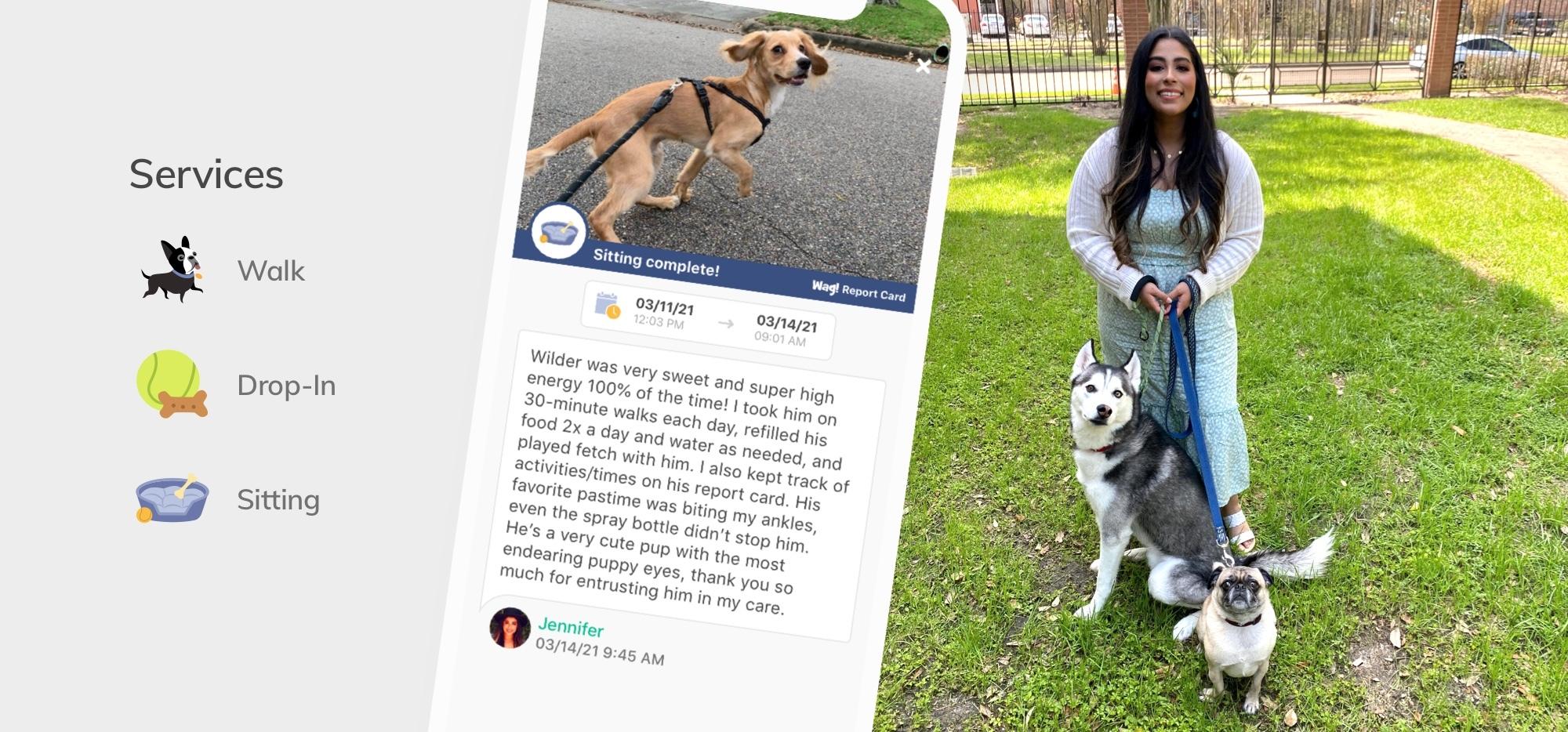 Vetted dog walker Jennifer walking her dog client, Wilder