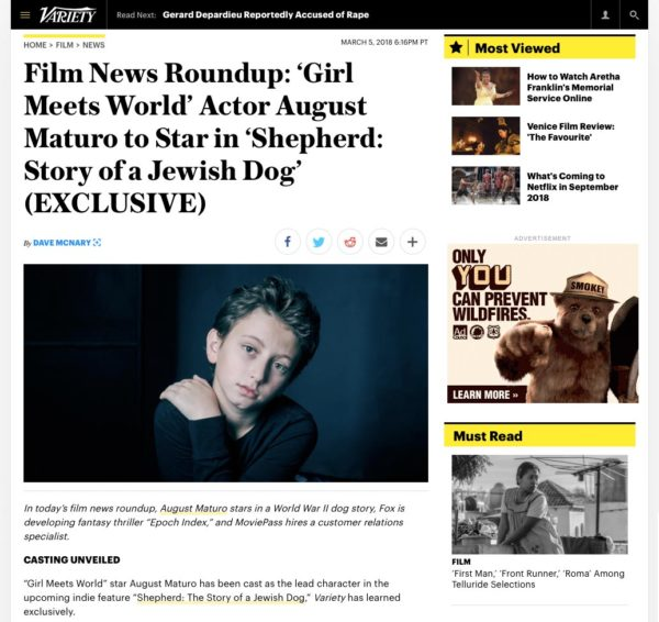 Variety Film News Roundup - August Maturo