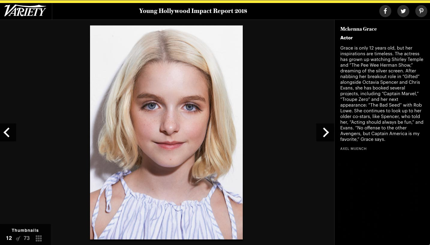 Variety Young Hollywood Impact – Mckenna Grace | Axel Muench