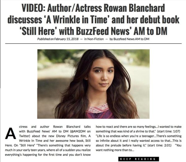 Booktrib: Rowan Blanchard Debut Book