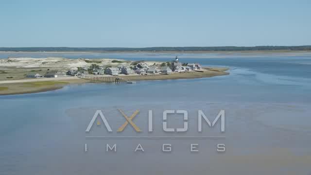Sandy Neck Colony, Sandy Neck Light, Cape Cod, Barnstable, Massachusetts Aerial Stock Footage AX143_143