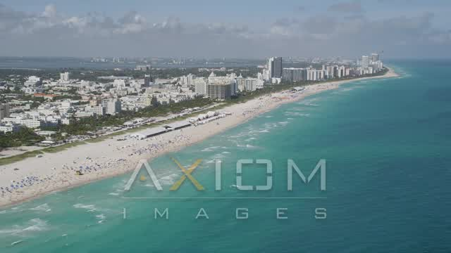Flying by the beach, South Beach, Miami Beach, Florida Aerial Stock Footage AX31_052