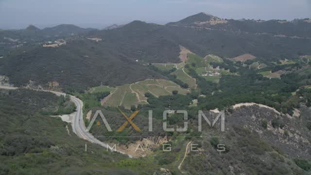 Tracking vineyards in the hills of Malibu, California Aerial Stock Footage | AX42_097
