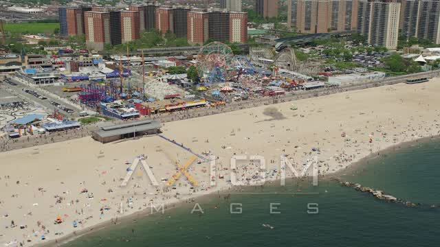 Coney Island Beach and Luna Park, Brooklyn Aerial Stock Footage | AX83_214
