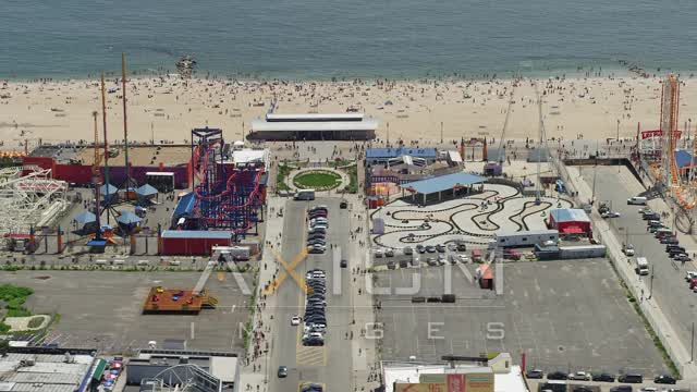 Coney Island, Brooklyn Aerial Stock Footage | AX83_218