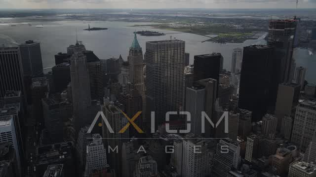 Lower Manhattan, One Chase Manhattan Plaza, 40 Wall Street, New York, New York Aerial Stock Footage | AX87_026