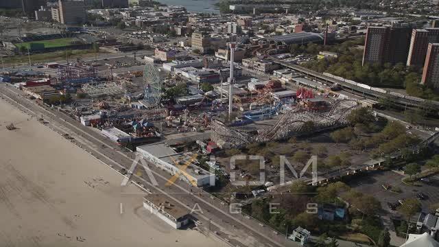 Flying by Luna Park, Coney Island, Brooklyn, New York City, New York  Aerial Stock Footage | AX88_045